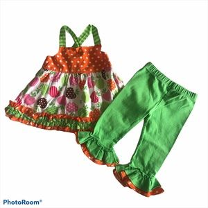 Rare Editions Two Piece Ruffled Apple Outfit 18M